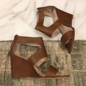 Louise et Cie Dark Camel Leather Wedge